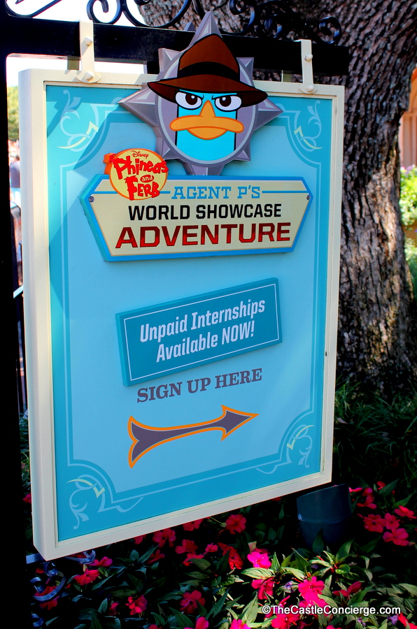 Sign for Agent P's World Showcase Adventure