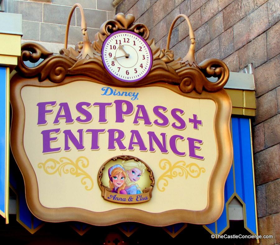 Anna and Elsa in Magic Kingdom FastPass+ Entrance