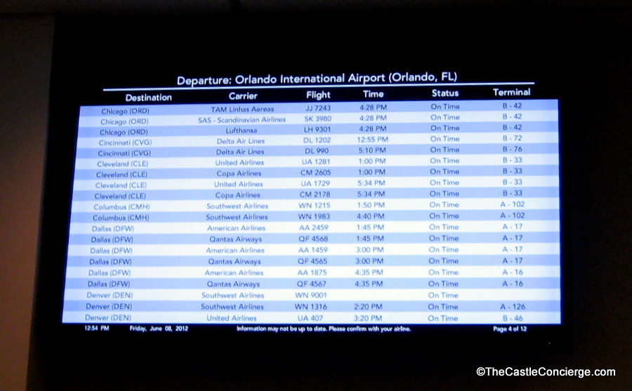 Airline Departure Information is available at Art of Animation.