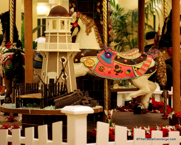 A gingerbread carousel greets guests at Disney's Beach Club resort.