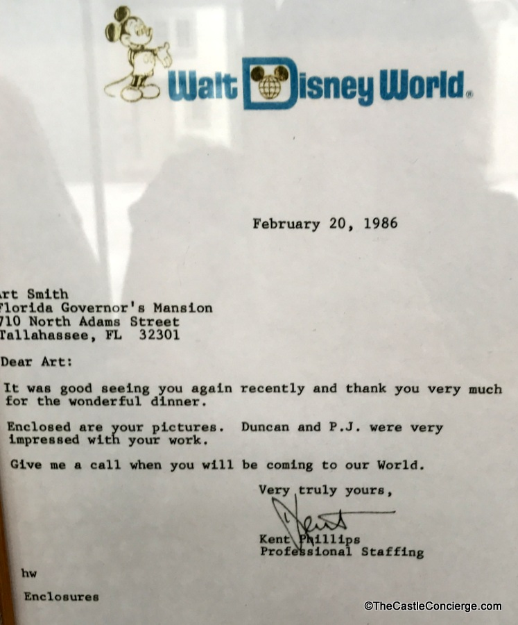 Letter from WDW to Chef Art Smith on wall at Homecomin'.