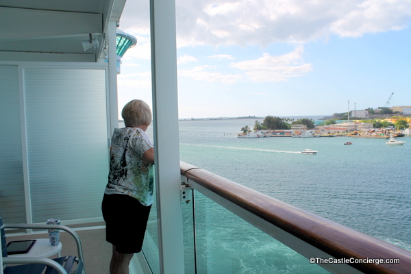 Stateroom balcony partitions can be opened to allow families to enjoy a larger balcony.