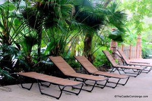 Uzima Springs pool at Disney's Animal Kingdom Lodge has shaded seating.