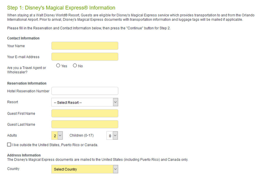 Disney's Magical Express Reservaation