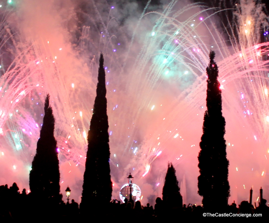 Epcot's fireworks during IllumiNations show light up the sky