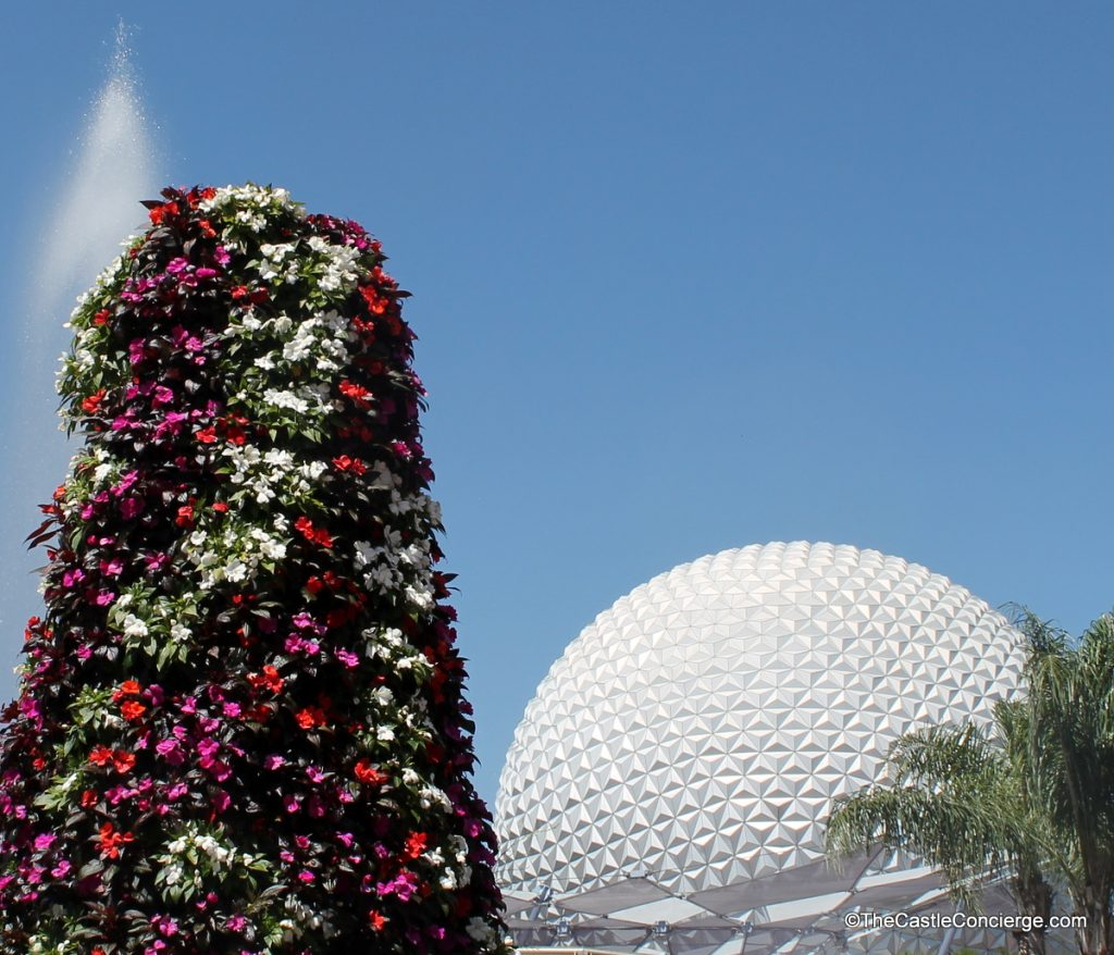 Epcot International Flower and Garden Festival - flowers blooming near Space Ship Earth.