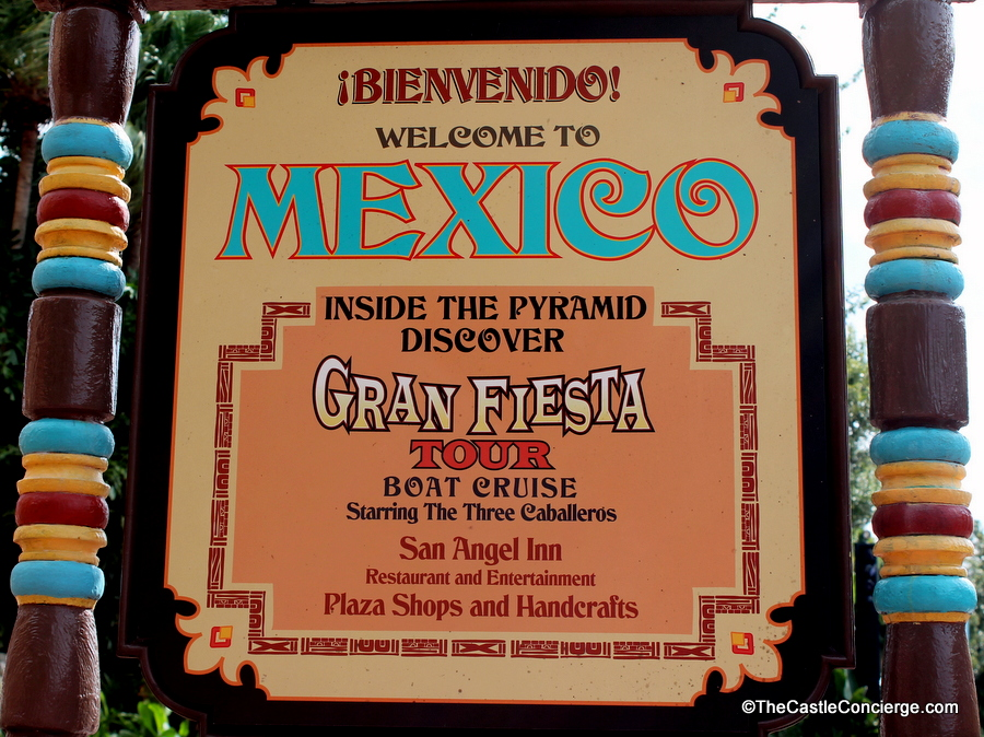 Sign for Epcot's Mexico pavilion attractions