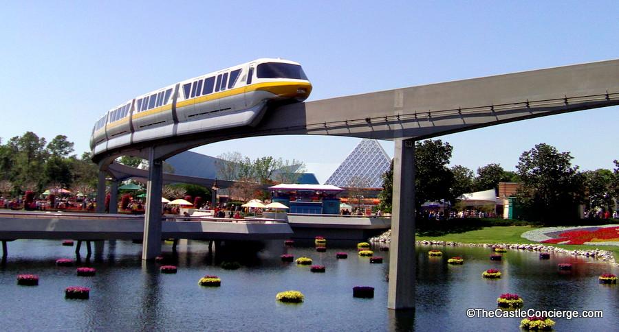 The Disney monorail passes through Epcot's Future World