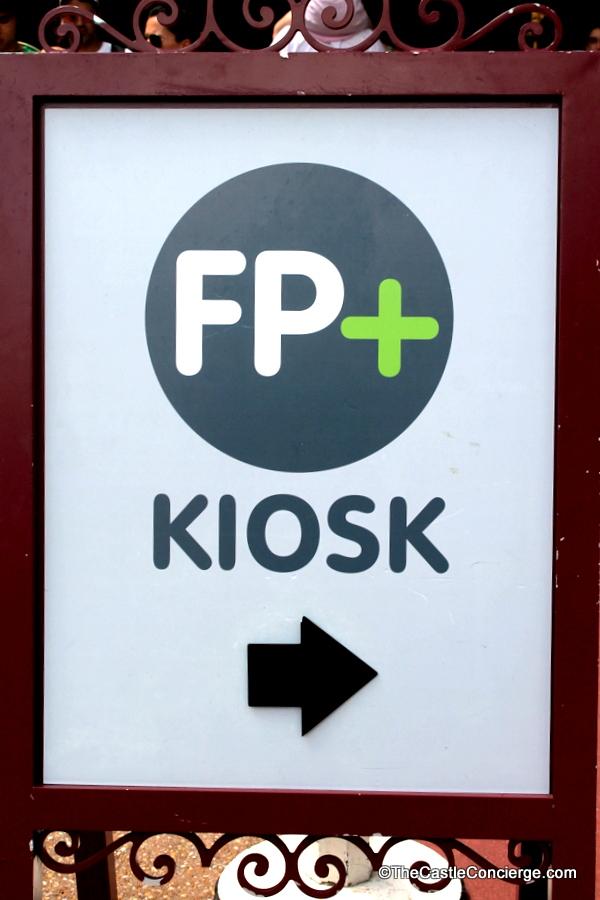 FastPass Plus Kiosk Sign at WDW theme parks.