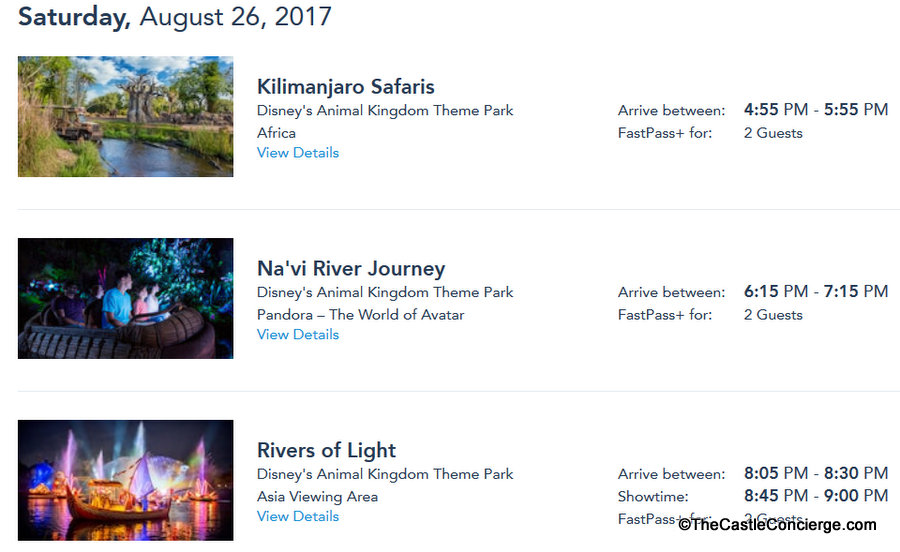 Example of FastPass+ Selections for a WDW vacation.