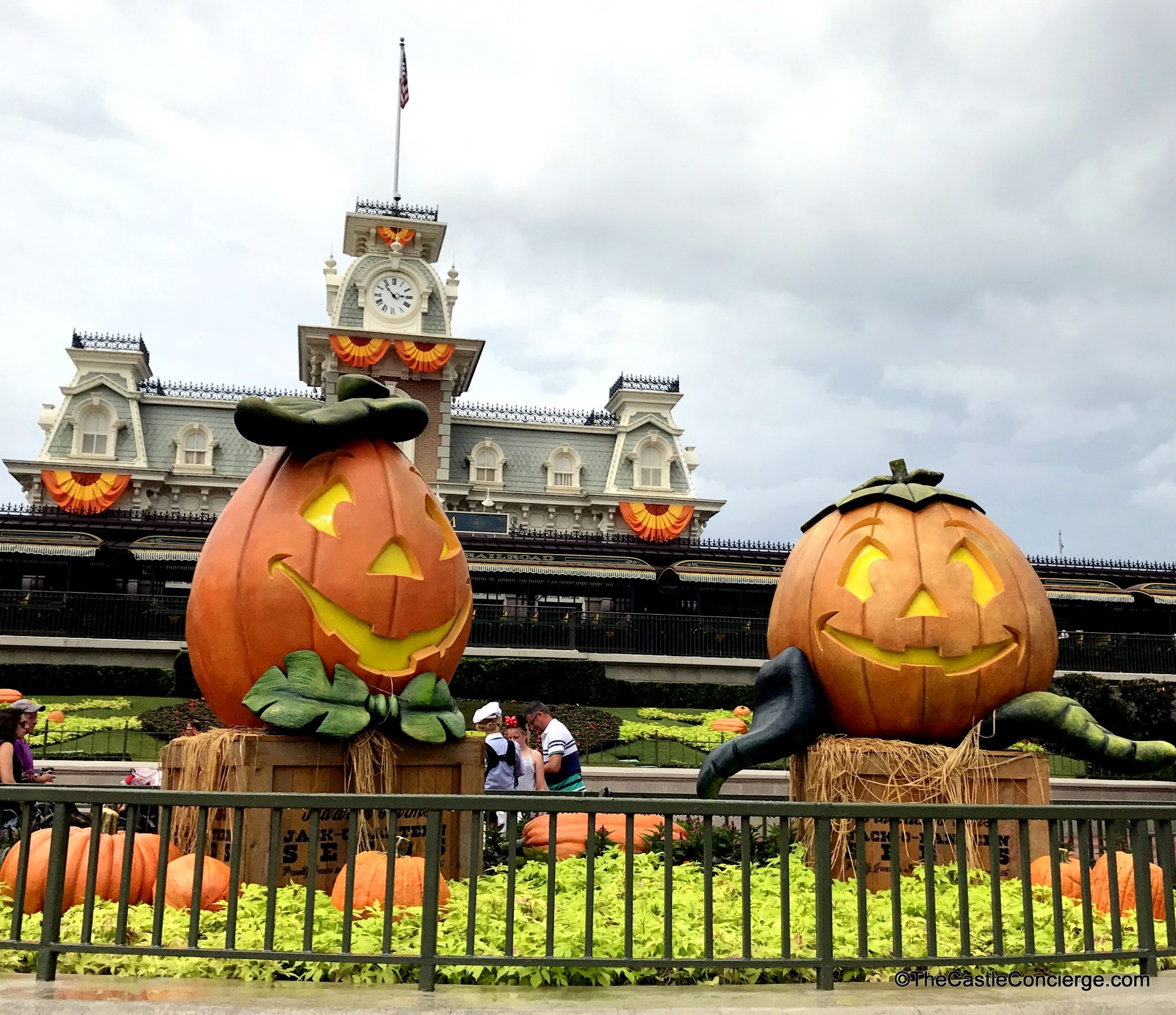 Seasonal decor at Halloween in the Magic Kingdom.