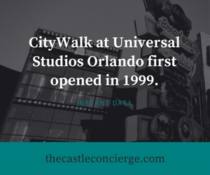 Instant Data for CityWalk Universal Studios. Opening 1999.