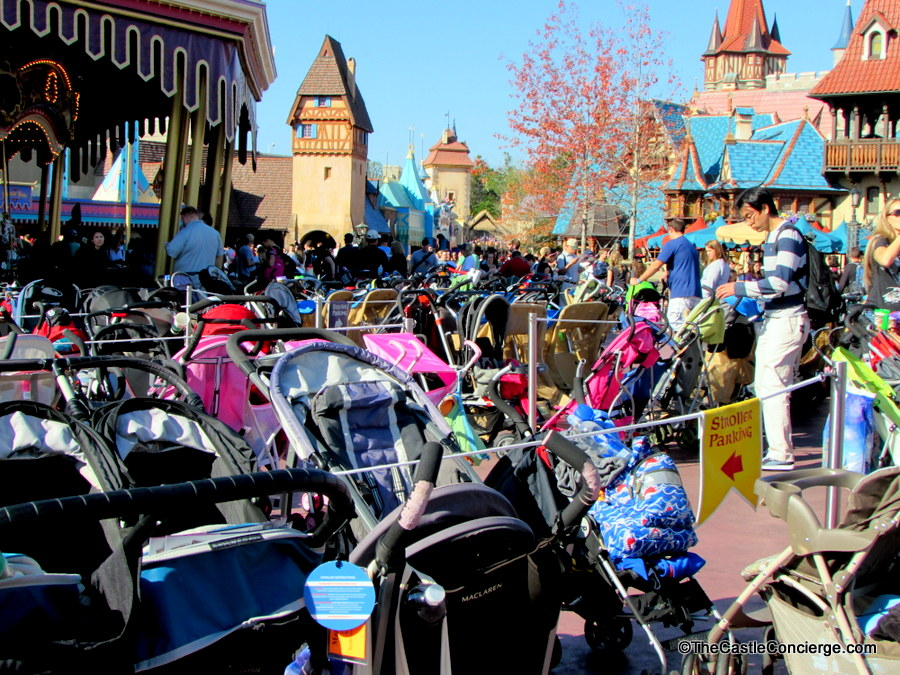 Walt Disney World is extremely crowded during the holiday season as can be seen at stroller parking in the Magic Kingdom.