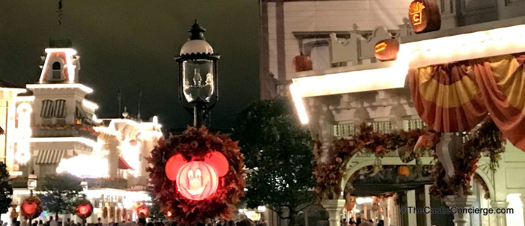 Halloween decor on Main Street in the Magic Kingdom.