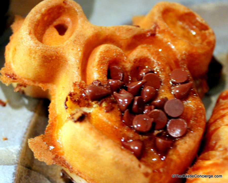 Mickey Waffles are served at Trail's End Restaurant at Disney's Fort Wilderness.