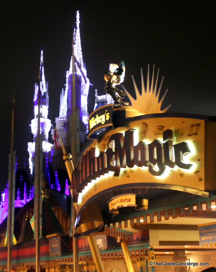 Mickey's PhilharMagic sign at night