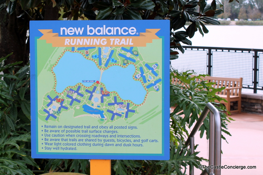 Relaxing at WDW can include utilizing a New Balance Running Trail at a Disney resort.