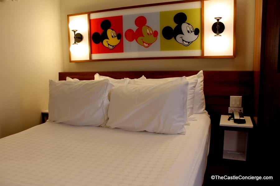 Photo tour 2017 renovated room at disneys pop century queen bed at pop century in walt disney world publicscrutiny Images