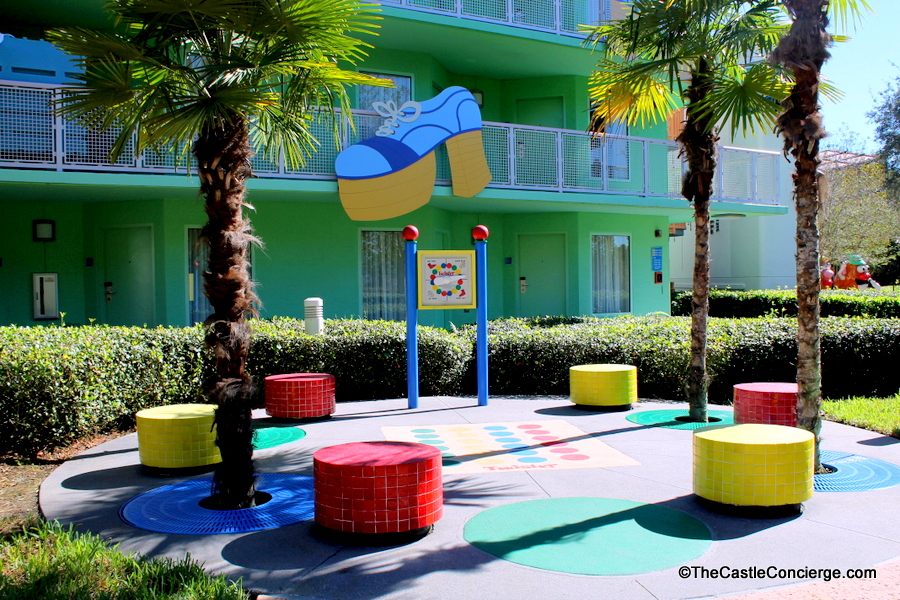 Relax at your resort and play a game like Twister at Disney's Pop Century.