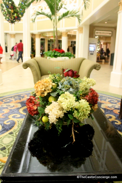 Port Orleans Riverside adds festive floral at Christmas time.