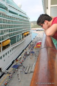 Watching people return to Royal Caribbean ship.