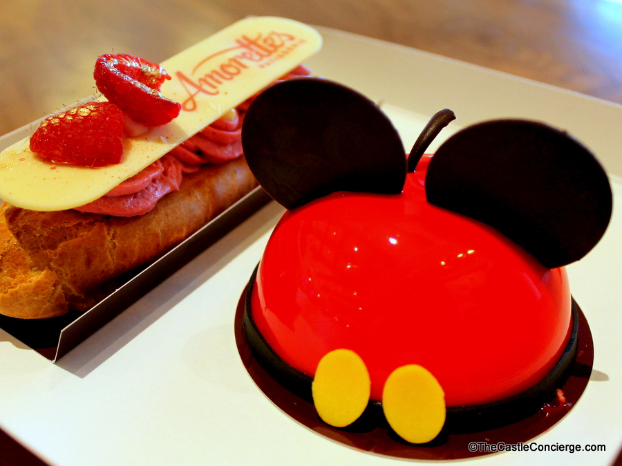 Raspberry Eclair and Mickey Dome Cake Amorettes Patisserie Disney Springs