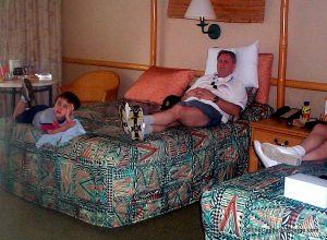 Rest time with grandparents at the Polynesian Resort in WDW.
