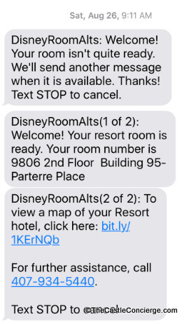 Room Ready Text Walt Disney World Online check-in