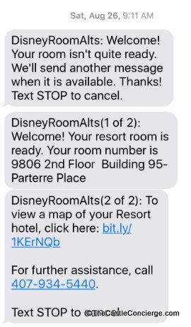 Room Ready Text Walt Disney World Online check-in