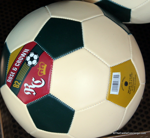 Rose and Crown themed soccer balls are sold in Epcot's United Kingdom