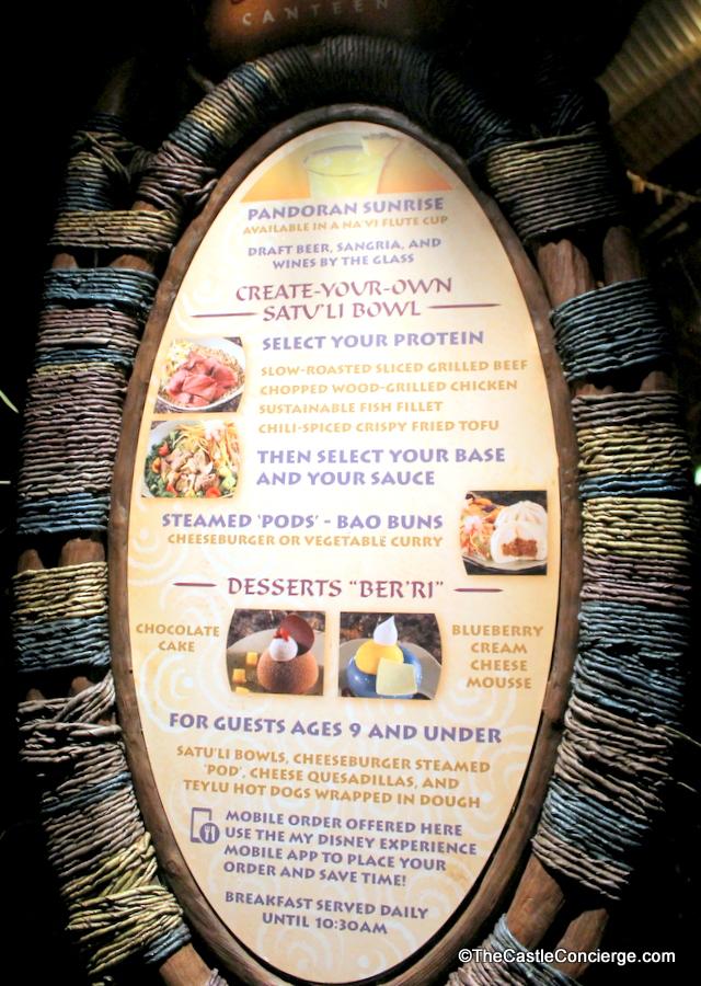 Menu Options at Satu'li Canteen at Pandora The World of Avatar.