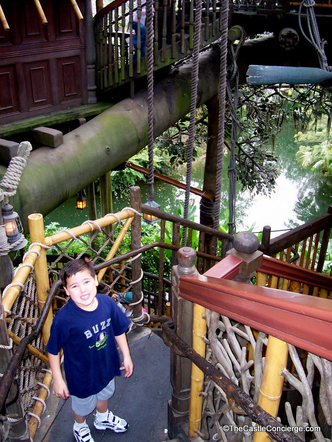 Child climbing Swiss Family Treehouse in Magic Kingdom