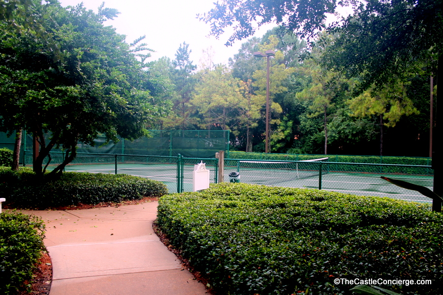 Enjoy WDW resort recreation like the tennis court at Disney's Yacht Club.