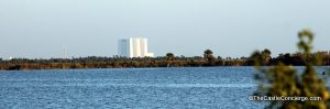 Looking towards the Vehicle Assembly Building at Kenney Space Center from across the Banana River, Nasa Parkway East