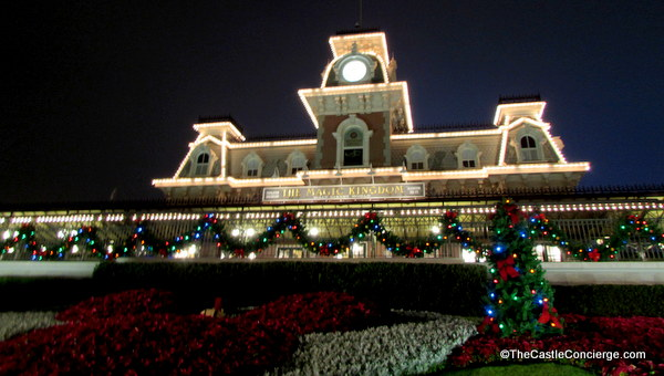 The Magic Kingdom is bedecked with holiday decor.
