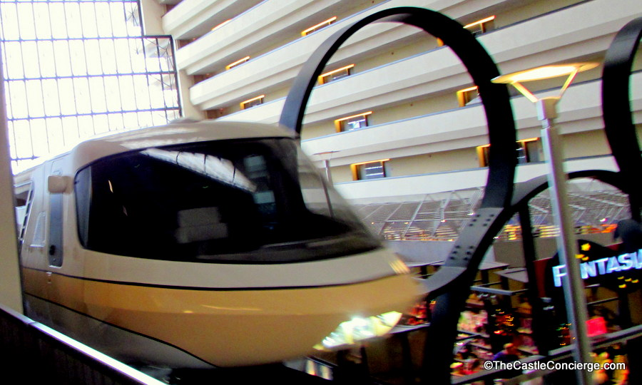 Walt Disney World Monorail traveling through Disney's Contemporary Resort