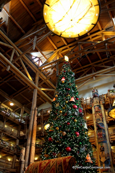 At Disney's Wilderness Lodge, the Christmas tree is stands tall in the resort's lobby.