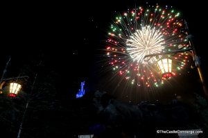 Wishes Fireworks from Be Our Guest Restaurant entrance.