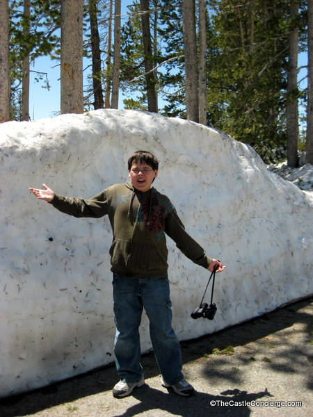 Yellowstone covered in snow with high snowbanks in early June 2011,